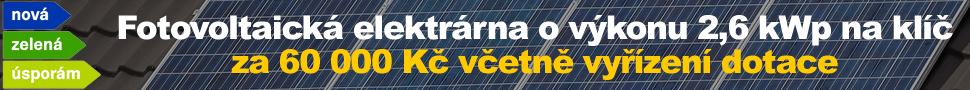 Fotovoltaická elektrárna o výkonu 2,6 kWp na klíč včetně vyřízení dotace 60 000 Kč