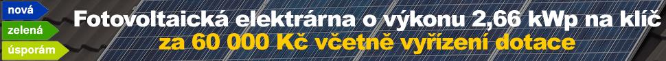 Fotovoltaická elektrárna o výkonu 2,66 kWp na klíč včetně vyřízení dotace 60 000 Kč