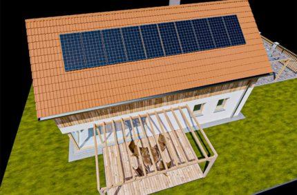 Hybridní solární elektrárna na střeše rodinného domu