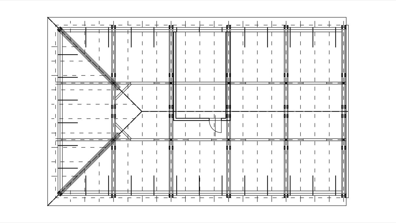 Podklady pro stanovení výkonu fotovoltaické elektrárny - půdorys krovu