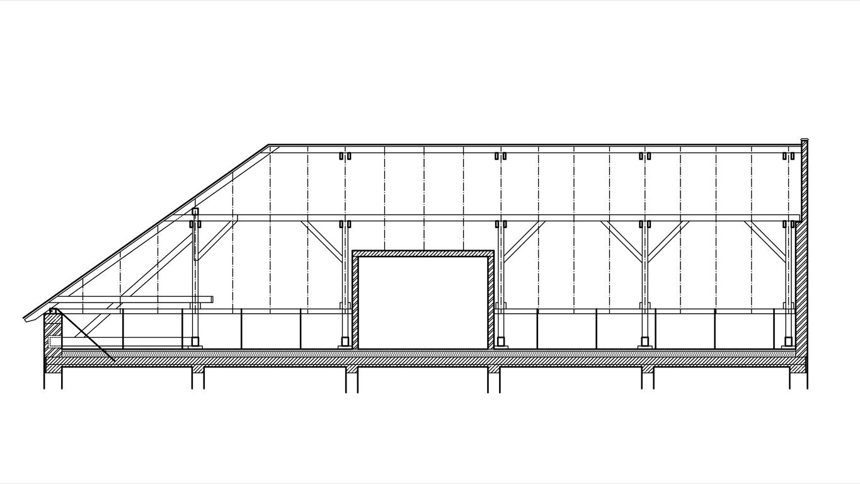 Podklady pro stanovení výkonu fotovoltaické elektrárny - řez krovem